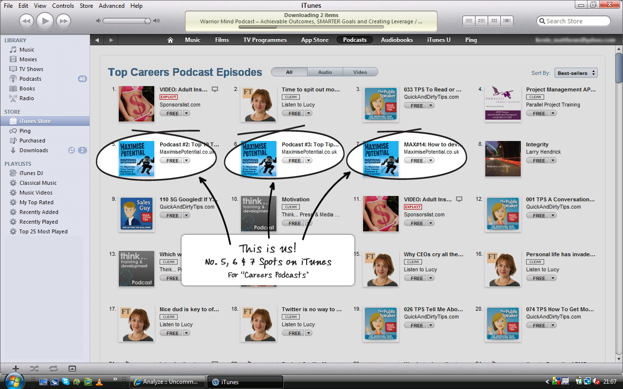 MAXIMISE POTENTIAL PODCAST – 3 episodes in the TOP 10 of the latest i-tunes charts